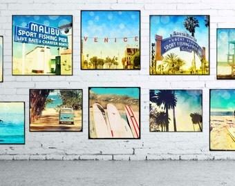 California Wall Art Large Canvas, Retro Surfing California Beach Collage Set Home Decor, Santa Monica, Malibu, Venice Beach Art Complete Set