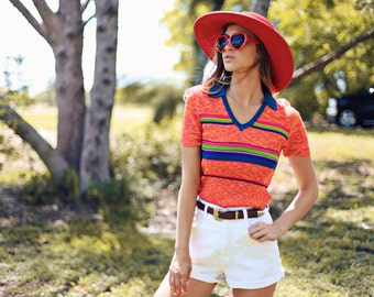 70s Striped Blouse Vintage Colorful Retro Knitted Top