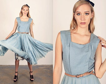 50s Silk Chiffon Dress Vintage Blue Pleated Prom Silk Party Dress
