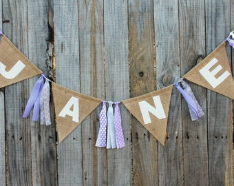 Custom Burlap Name Banner, Personalized Burlap Bunting, Customized With Your Name and Colors for Nursery, Birthday or Any Event