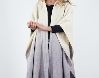 Hooded Cape Coat, Hoodie Ruana cape, Outerwear wool poncho, hand woven ombre dyed merino wool, Fall Winter Trends