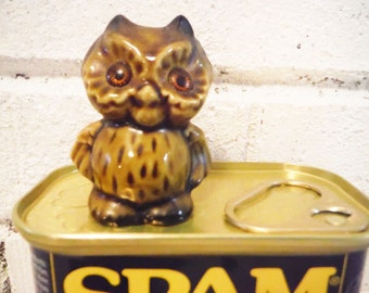 Small owl figurine ceramic retro glass eyes wee miniature vintage