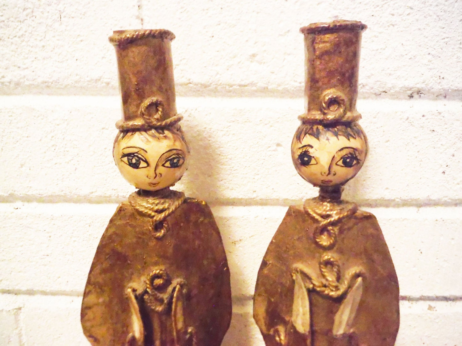 De sela doll angel candle holders pair paper mache mexican for Cardboard candle holders