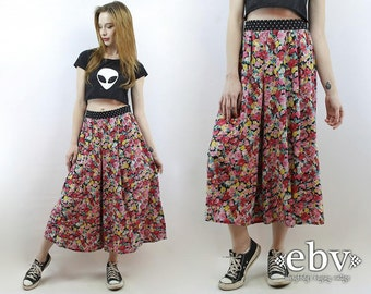 Festival Pants 90s Pants Floral Pants Plus Size Pants Plus Size Vintage 90s High Waisted Floral Cropped Wide Leg Pants 1X 2X Pants