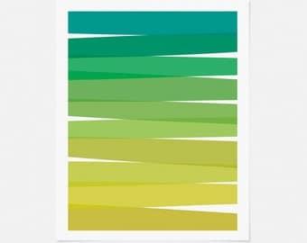 Abstract Art Print - Green Ombre Artwork - Mid Century Modern Wall Art - 5x7 8x10 11x14 Vertical Art for Living Room, Nursery, Office