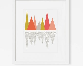 Abstract Mountain Landscape Art Print - Pink, Peach and Yellow Wall Art - Vertical 5x7, 8x10, 11x14 Artwork for Nursery, Office, Bedroom