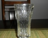 Unique Vintage Cut Glass Footed Flower Vase/Tapered Candlestick Holder