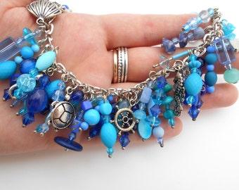Beaded Charm Bracelet Blue ocean nautical summer time Handmade