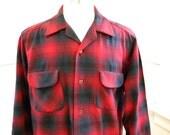 Wear Forever Men's Wool Pendleton Shirt LARGE / Red Black Plaid Wool Work Shirt / Casual Shirts / Winter Fall Shirts / 1980s Clothing