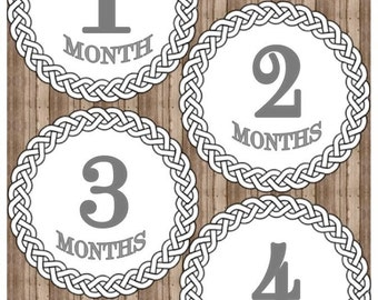 Printable Monthly Baby Iron On Months 1-12, Monthly Baby Stickers, Grey Baby Month Stickers, Onesie Stickers, Baby Milestone Iron On