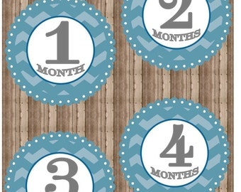 Printable BLUE SCALLOPED CHEVRON Monthly Baby Iron On Months 1-12, Monthly Baby Stickers, Chevron, Onesie Stickers