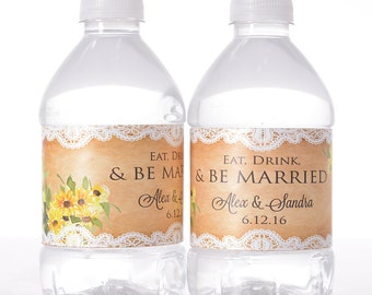 "Rustic Wedding Stickers - 30 Wedding Water Bottle Labels - Need a different quantity? Click on the ""choose total"" tab to see all pricing"