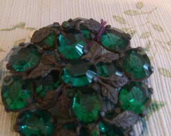 REDUCED  Old Green Stone Leaf Brooch