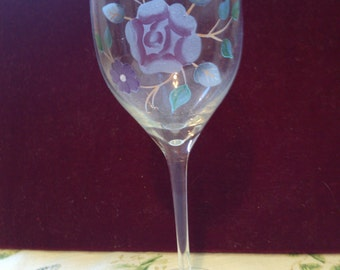 Wine Goblet with Hand Painted Rose, Leaves and flowers