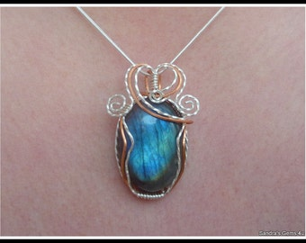 Labradorite Pendant wire wrapped in Sterling Silver and Copper