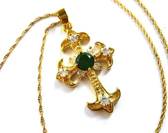 18K GOLD Plated Fleur di Lis Simulated Emerald & Diamond Cross, Gold Cross with Gold Filled Neck Chain, Art Deco Vintage, Christmas Cross
