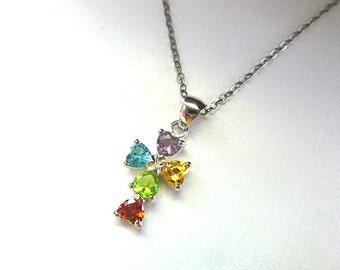 CHILDRENS Gemstone CROSS, Sterling Silver Love Cross, Gemstone Cross, Baptism Gift, Vintage Colorful Heart Gemstones, Tiny Cross Necklace