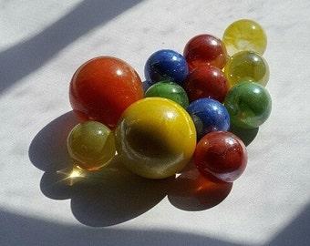 12 Glass Marbles, Vintage --  VP215