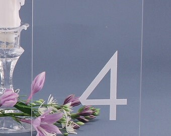 Simple Modern Table Numbers - Clear Engraved Acrylic for Receptions and Parties