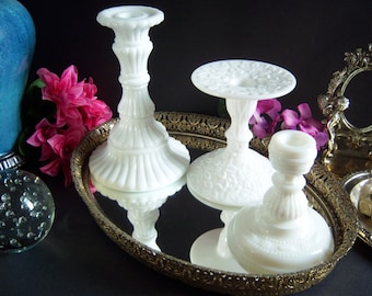 Milk Glass Candle Sticks - Milk Glass Candle Holders - Westmoreland Glass - Imperial Glass - Consolidated Glass - Vintage Candlestickss