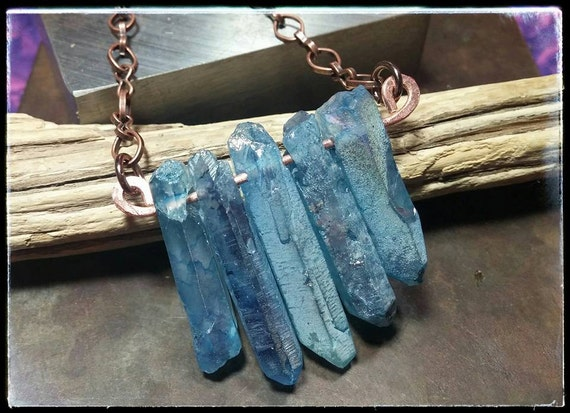 Blue Aurora Borealis Crystal Pendant