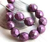 Metallic Purple beads, 8mm Czech round beads, fire polished, faceted beads - 15Pc - 2745