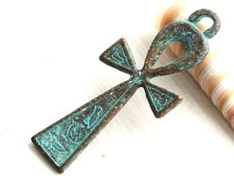 Large Ankh Pendant, Egyptian symbol of Life, Cross with loop, Verdigris patina on copper, boho charm - 1pc - F342