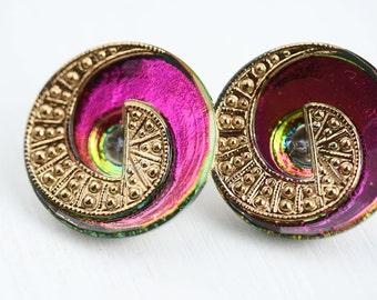 23mm Czech Glass Button, Purple Vitrail Spiral Handmade Button bead, size 10, 1pc - 1402