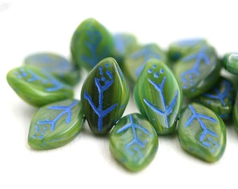 12x7mm Forest Green Leaf beads, Blue Inlays, Czech glass pressed leaves, top drilled - 25Pc - 1994