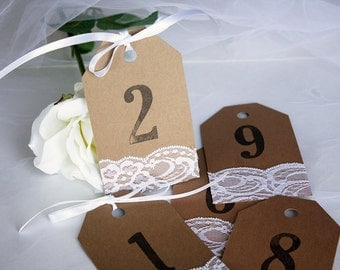 Rustic Kraft & White Lace Table Number Tags, Rustic Table Numbers, Rustic Table Number Tags, Wedding Table Numbers, Rustic Wedding