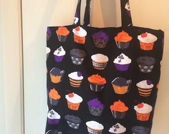 "Halloween Cupcakes  Print Handmade 16"" Tote Bag"