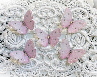 Reneabouquets Tiny Treasures Handcrafted Butterfly Set-  Sweet As Candy Glitter Glass Butterflies