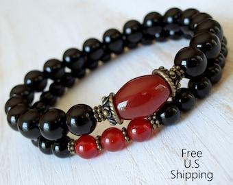 Strength, set of 2 bracelets, Yoga stack, Yoga bracelets, bracelet set, Reiki Charged, stacking malas, yoga stack, Carnelian, Onyx