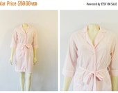 CLOTHING SALE Vintage Robe Kayser Pink Nylon Short Dressing Gown Peignoir Size 34 Modern Small to Medium