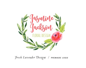 Custom Logo Design Premade Logo Design and Watermark for Photographers and Small Businesses Watercolor Bright Laurel with Rose