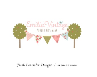 Custom Logo Designer Premade Logo Design and Watermark for Photographers and Small Businesses Shabby Chic VintageTree with Birds & Bunting