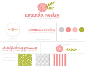 Custom Branding Package Premade Logo & Watermark Shabby Chic Hand Drawn Flowers/ Patterns/Fonts/Personalized Marketing Kit