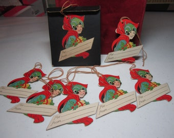 Art Deco 1920's-30's unused 6 die cut Rust Craft christmas gift cards tags in original box,fantastic deco design of flapper lady holds gift