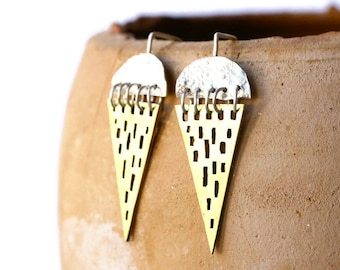 Triangle tribal earrings, Tribal brass earrings, Reticulated silver earrings, Geometric earrings, Brass and Silver dangle earrings