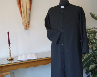 Clergy cassock with built in Roman collar & tab; two in 1 robe; priest vestment. All in one robe.