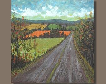 abstract art, road painting, impressionist landscape painting, countryside, farmland, (24x24) folk art, wall art, prairie, original painting