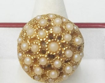 Domed Open Work Setting Vintage Seed Pearl Beads Adjustable Ring Costume Jewelry Adjustable
