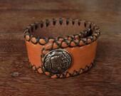 Red Indian stud Leather Cuff Bracelet // rustic // rivet // rusty // navajo // American Indian // havana brown
