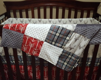 Baby Boy Crib Bedding - Buck Deer, Red Arrows, Lodge Red Gray Plaid, Gray, and White Crib Bedding Ensemble