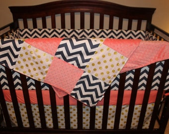Coral, Gold, Navy Baby Girl Blanket - Glitz Gold Dot, Navy Chevron, and Coral Minky Patchwork Baby Blanket