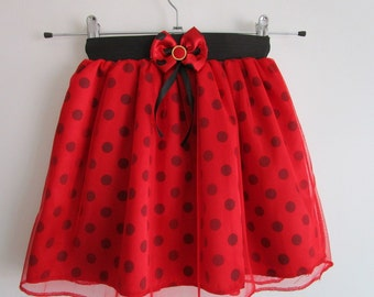 Girls Tutu Skirt , Red Birthday Tutu, Princess Tutu, 8 Kids Birthday Tutu, Polka dot tutu, Costume tutu, Black and Red tutu,Affordable tutu