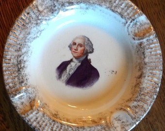 Vintage 22 KT Gold Trimmed Ashtray With George Washington Picture Circa 1930-1940