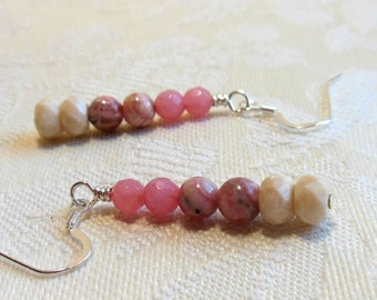 Pink and white silver earrings, rhodochrosite and fluvial gemstones, silver filled earwires, made to match necklace