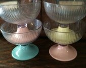Vintage Colorful Plastic Ice Cream/Sherbert Bowls, Set of 4