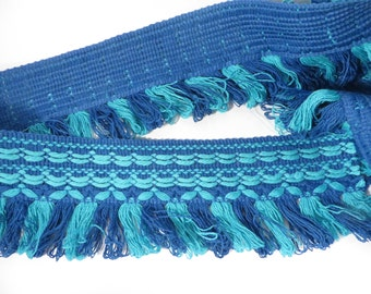 Vintage 1970's Turquoise Royal Blue Fringe Trim - 5 Yards Sewing Curtain Fringe Trim